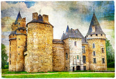 Castles of France , artistic picture. Beautiful fairy castles of France , artistic picture stock photo