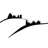 Castles and hills. Illustration of old ancient castles on the hills Vector Illustration