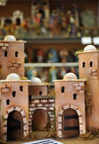 Castles and homes, Small figures of Belen, Christmas market stock photography