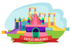 Castles inflatable set for summer rest isolated on white Stock Image
