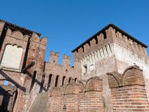 Castles of Italy - The medieval Castle of Soncino - Cremona - It. Castles of Italy - View of the medieval castle of Soncino in the province of Cremona - Italy Royalty Free Stock Photo