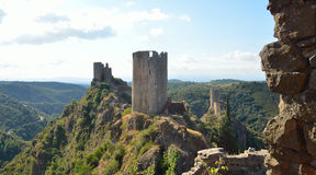 4 Castles at Lastours Castles. Languedoc-Roussillon France stock photography
