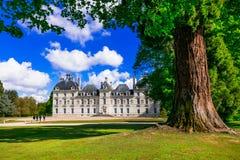 Castles of Loire valley - elegant Cheverny. Landmarks of France Royalty Free Stock Image