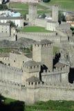 Castles of Montebello and Castelgrande at Bellinzona. On the Swiss alps Stock Photos