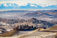 Castles and mountains in northern italy, langhe region, piedmont Royalty Free Stock Photography
