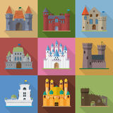 Castles and palaces flat design vector icons Stock Images