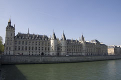 Castles in Paris. Big castles buildings along Seine River Bank of Paris stock photos
