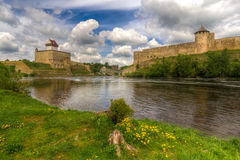 Castles on the river's shore stock photos