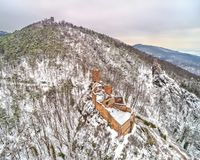 Castles of Saint Ulrich, Girsberg and Haut-Ribeaupierre in the Vosges Mountains near Ribeauville. Alsace, France. Castles of Saint Ulrich, Girsberg and Haut Royalty Free Stock Images