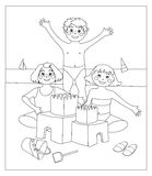 Castles of Sand (image in black and white to color. This vector image depicts three children who make a castle of sand. The space of the picture are white, so Royalty Free Stock Photos