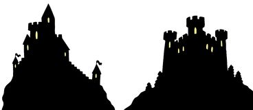 Castles silhouettes Stock Photos