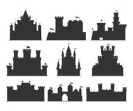 Castles silhouettes set. Building of the medieval period, with thick walls, battlements, towers. Vector flat style cartoon illustration isolated on white Stock Image