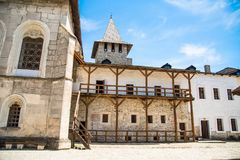 Khotyn fortess, castle in Ukraine. Castles of Ukraine. Fortress in Khotyn, a medieval stronghold on the banks of the Dniester River. Courtyard stock photo