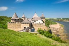 Khotyn fortess, castle in Ukraine. Castles of Ukraine. Fortress in Khotyn, a medieval stronghold on the banks of the Dniester River royalty free stock images