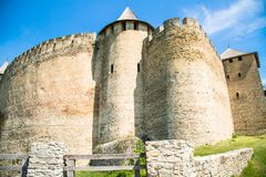 Khotyn fortess, castle in Ukraine. Castles of Ukraine. Fortress in Khotyn, a medieval stronghold on the banks of the Dniester River stock images
