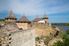 Khotyn fortess, castle in Ukraine. Castles of Ukraine. Fortress in Khotyn, a medieval stronghold on the banks of the Dniester River stock image