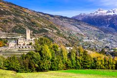 Castles  of Valle d`Aosta. Castello Reale di Sarre, Italy Royalty Free Stock Images