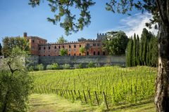 Castles and vineyards of Tuscany, Chianti wine region of Ital stock photo