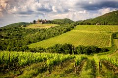 Castles and vineyards of Tuscany, Chianti wine region of Italy stock photography