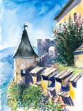 Castles wall. Part of castles wall-Castle Hochosterwitz,Carinthia,Austria watercolor painted.Picture I have created myself Royalty Free Stock Photo