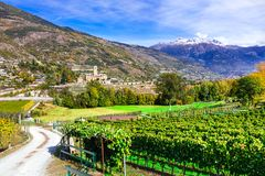 Castles and wineyards of Valle d`Aosta. Castello Reale di Sarre, Stock Images