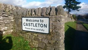Castleton znak Derbyshire Zdjęcia Royalty Free