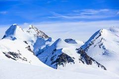 Castor And Pollux, Roccia Nera And Slope Of Breithorn, Above Gorner Glacier Adjacent Matterhorn, Zermatt, Switzerland Stock Photo