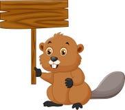 Castor dos desenhos animados que guarda o sinal vazio Imagem de Stock