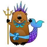 Castor engraçado no traje do carnaval de Netuno Poseidon Imagem de Stock