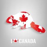 Castor national de symbole de Canada avec une silhouette officielle de drapeau et de carte l'Amérique du Nord Vecteur Images stock