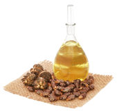 Castor oil with beans. On sack over white background stock image