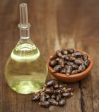 Castor oil with beans. On wooden surface stock images