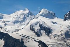 Castor and Pollux. Peaks from Gornergrat, Switzerland royalty free stock photos