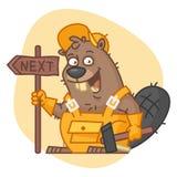 Castor que guarda o sinal e o martelo Imagem de Stock Royalty Free
