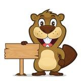 Castor que lleva a cabo una muestra de madera libre illustration