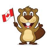 Castor que sostiene la bandera canadiense stock de ilustración