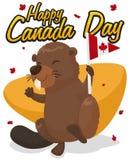 Castoro con lo stendardo e foglie di acero nel giorno del Canada, illustrazione di vettore Fotografie Stock Libere da Diritti