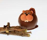 Castoro del cioccolato con i bastoni Immagine Stock