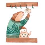 Castoro dell'acquerello nella cucina che produce tè Fotografia Stock Libera da Diritti