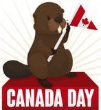 Castoro tenero con uno stendardo pronto a celebrare giorno del Canada, illustrazione di vettore Immagini Stock