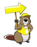 Castors de dessin animé avec une flèche indicatrice (flèche) Photos libres de droits