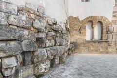 castra雷日纳的老罗马围墙在雷根斯堡,德国 免版税图库摄影