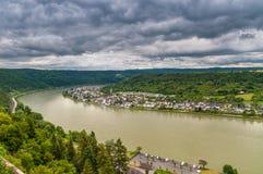 Castre en el río Rhine, Alemania fotos de archivo