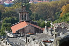 Castrelo cemetery. Cemetery of castrelo and his church in the background Royalty Free Stock Photo