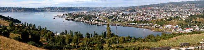 Castro, Chiloe海岛的全景照片。 库存照片