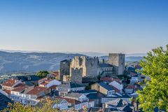 Castro Caldelas village. View of Castro Caldelas village and castle in Orense Spain at sunset Stock Photos