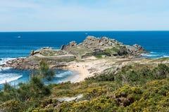 Castro De baroña i Atlantycki ocean w Galicia zdjęcia royalty free