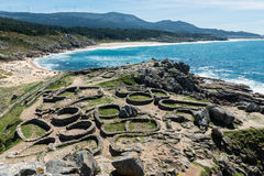 Castro de Baroña und Atlantik in Galizien stockfoto