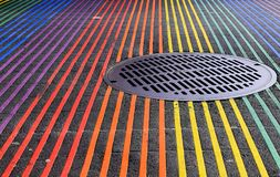 Castro District Rainbow Colored Crosswalk Intersection, San Francisco, California royalty free stock photography