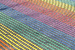 Castro District Rainbow Colored Crosswalk-Kruising, San Francisco, Californië stock afbeelding